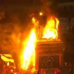 Se registran disturbios en Plaza Italia y queman la estatua del General Baquedano
