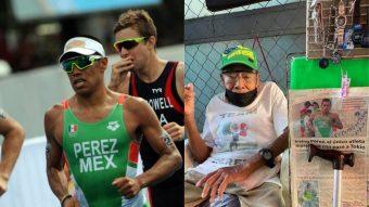 Abuelo de triatleta olímpico conmueve al decorar su puesto de mercado para alentar a su nieto
