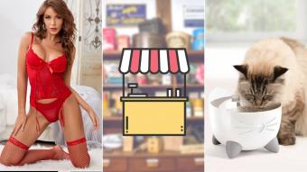 Kioskito Romántica: Lencería, frutos secos y accesorios para mascotas en la vitrina de martes